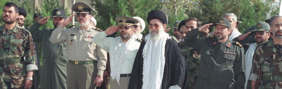 Ali Khamenei with members of the Revolutionary Gua