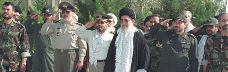 Ali Khamenei with members of the Revolutionary Gua